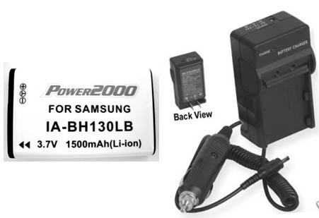 TWO Batteries + Charger for Samsung SMX-C14RP SMX-C20BN SMX-C20RN SMX-C20RN/XAA