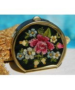 Vintage Petite Point Needlepoint Pill Box Flower Embroidered - $14.95