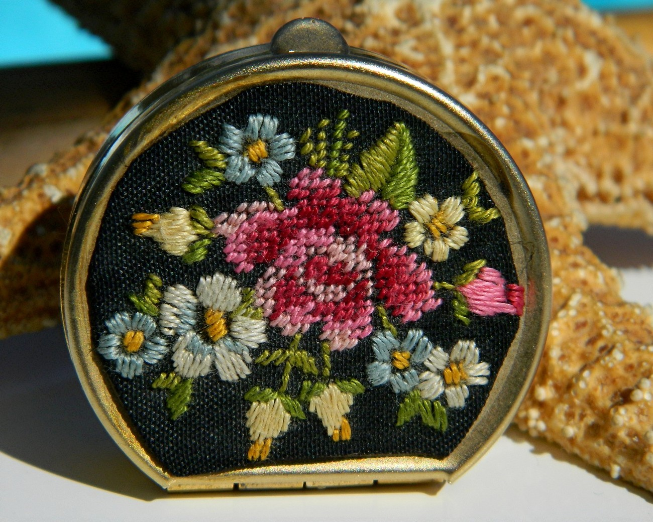 Vintage Petite Point Needlepoint Pill Box Flower Embroidered