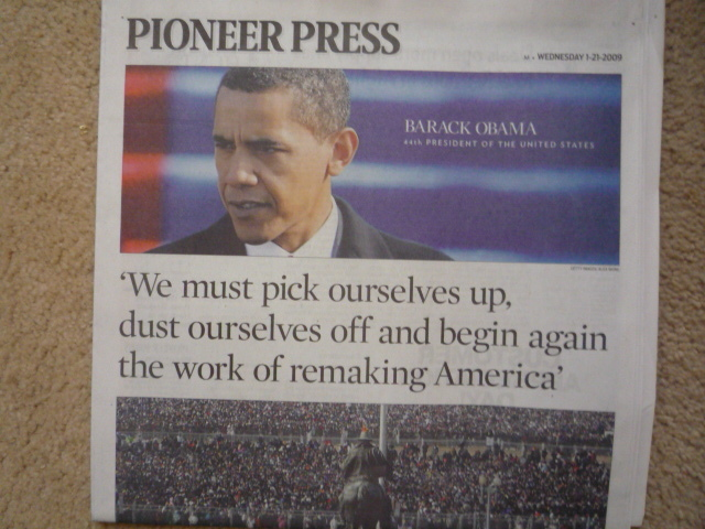Pioneer Press Inaguration Newspaper