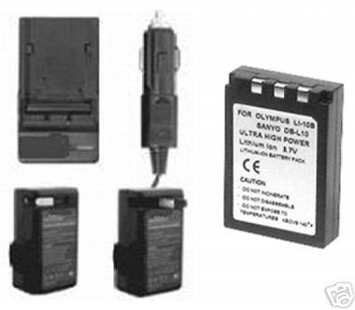 Battery + Charger for Sanyo DB-L10A DBL10A