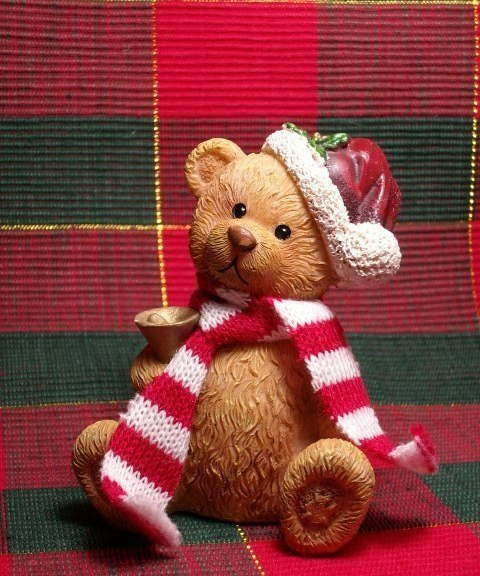 Primary image for CHRISTMAS TEDDY BEAR FIGURINE - Adorable!