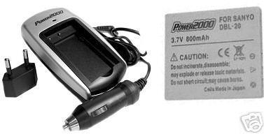 Battery + Charger for Sanyo DMX-CG9 DSC-C5 DSC-E60 DMX-CG65G DMX-CG65K DMX-CG65S