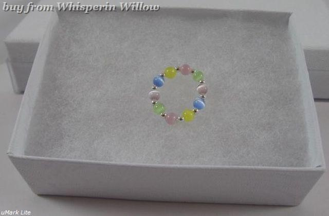 Glass Multi Color Cat's Eye Stretch Toe Ring