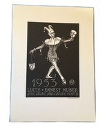 Lucie Ernest Huber Comedy Tragedy Signed 1953 Ex Libris Exlibris Bookplate - $49.49