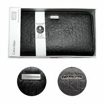 New Calvin Klein CK Leather Zip Around CK Logo RFID Wallet Organizer Purse 74287
