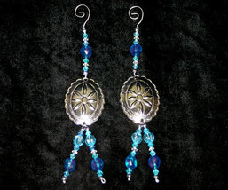Pair of Southwestern Concho and Beaded Country Christmas Ornament Handcrafted - $14.98