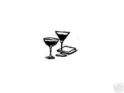 Drinking Glasses rubber stamp Martini Champagne