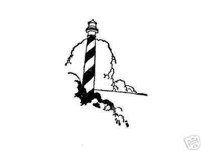 Striped Eastern Lighthouse rubber stamp light house