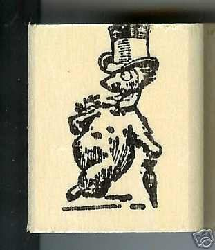 Long necked Bear Dapper in hat w/umbrella rubber stamp