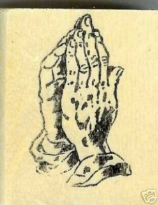 Praying hands rubber stamp large