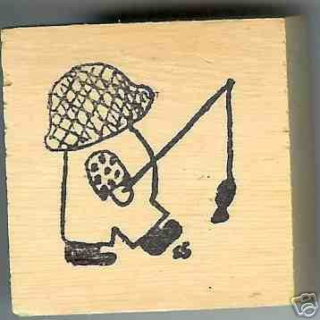 Overall Boy Rubber Stamp artist signed Original Large