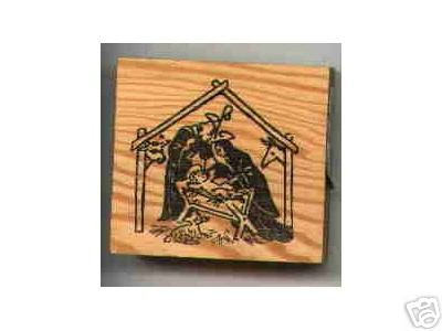 Nativity rubber stamp babe in manger baby jesus
