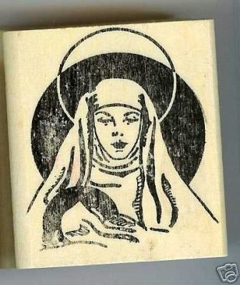 Mary with Baby Jesus rubber stamp large