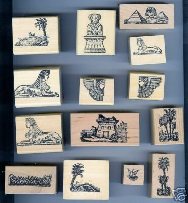 Set of 14 Egyptian Styled Victorian Motif Rubber Stamps