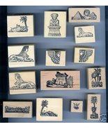 Set of 14 Egyptian Styled Victorian Motif Rubber Stamps - $99.45