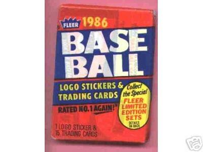 1986 Fleer Wax pack Baseball cards