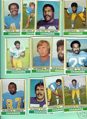 1974 Topps Football 12 Chargers Jones Owens Smith Vias+