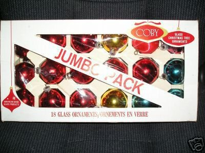 18 Christmas Glass+ Ornaments Red Etc Coby Made USA