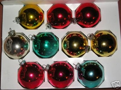 "10 Glass ornaments 2 1/2""-2 5/8 Shiny Brite assorted"