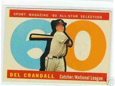 1960 Topps Baseball Card AS Del Crandall # 568
