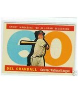 1960 Topps Baseball Card AS Del Crandall # 568 - $16.22