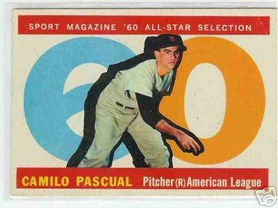 1960 Topps Baseball Card AS Camilo Pascual #569