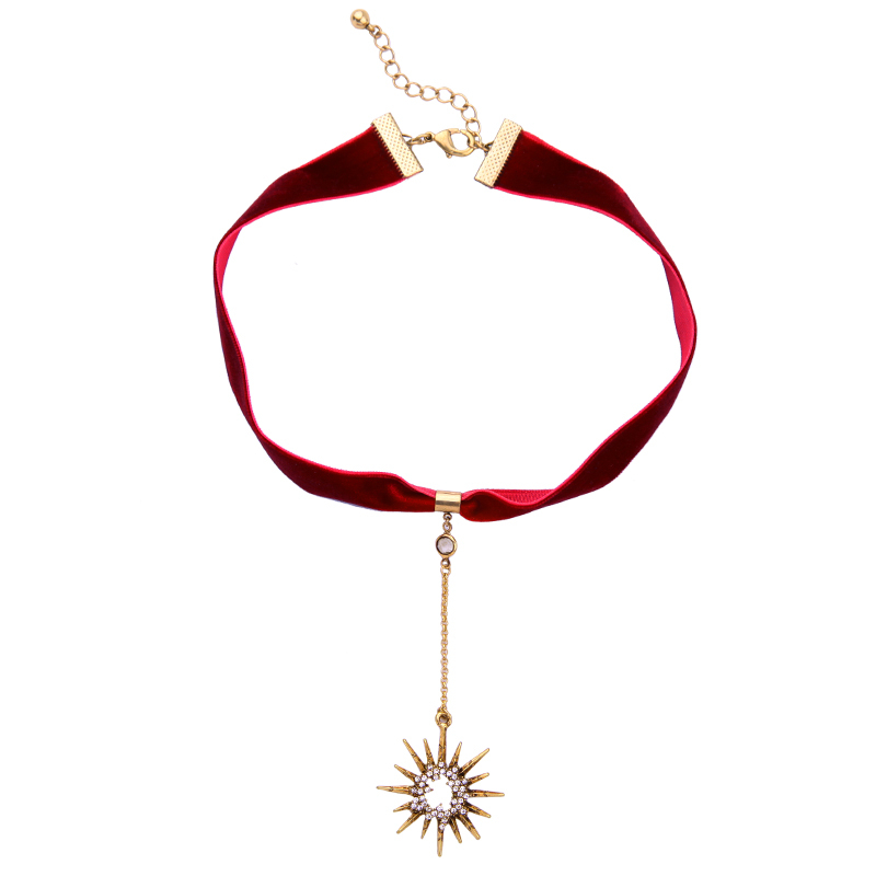 Crystal Star Pendant Black Red Velvet Choker Necklace pop Women Jewelry Chokers
