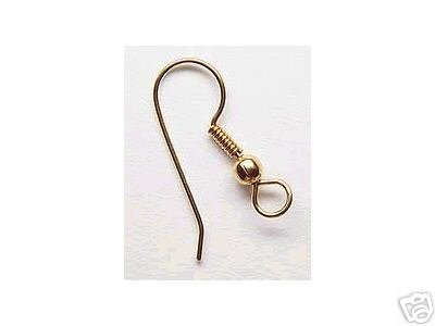 50 Gold French Fish Hook Ear Wires Ball Coil Loop