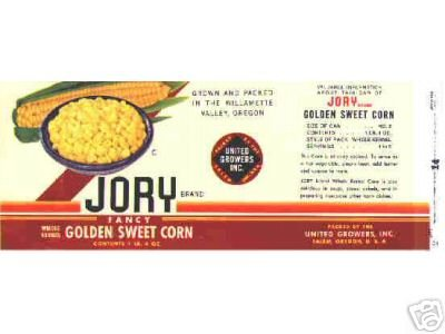 Jory CORN can LABEL 1950's Oregon UNUSED