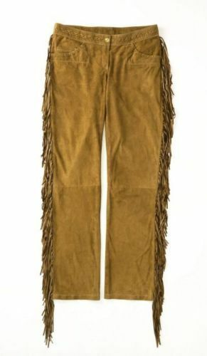 Mens New Native American Fringes Tan Buffalo Suede Leather Hippy Pant P60 image 3