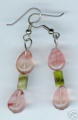 Green Stone Pink Bead Dangle earrings Handmade