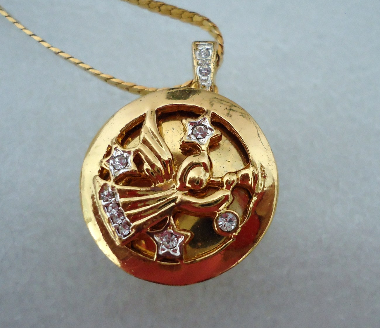Primary image for Monet Gold Tone Christmas Angel Locket Pendant  Rhinestone Accents with Chain