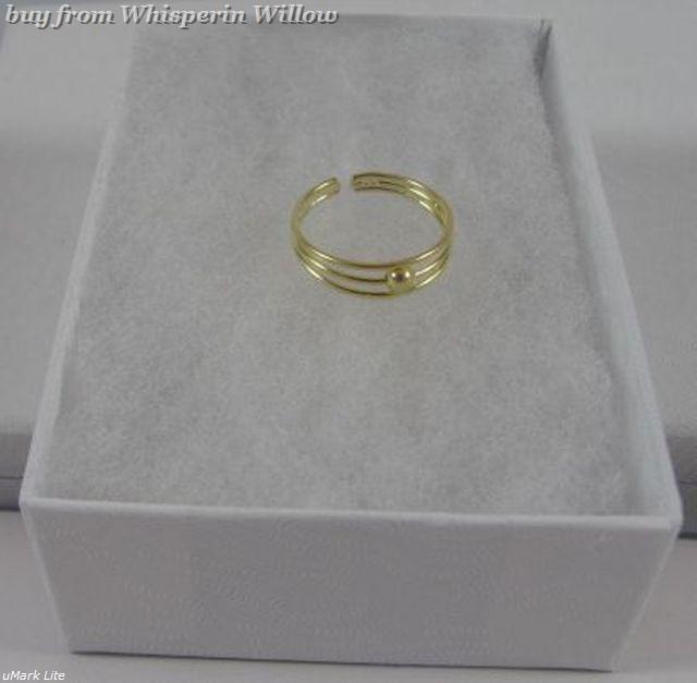 14 Karat Gold Plated 3 Row Toe Ring image 5