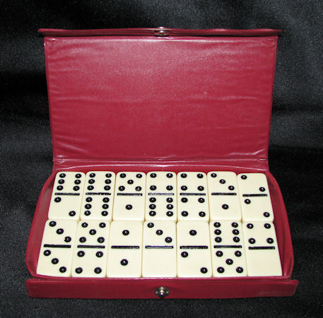 VTG Cardinal Double Six Dominoes Complete Set 28 in Snap Case
