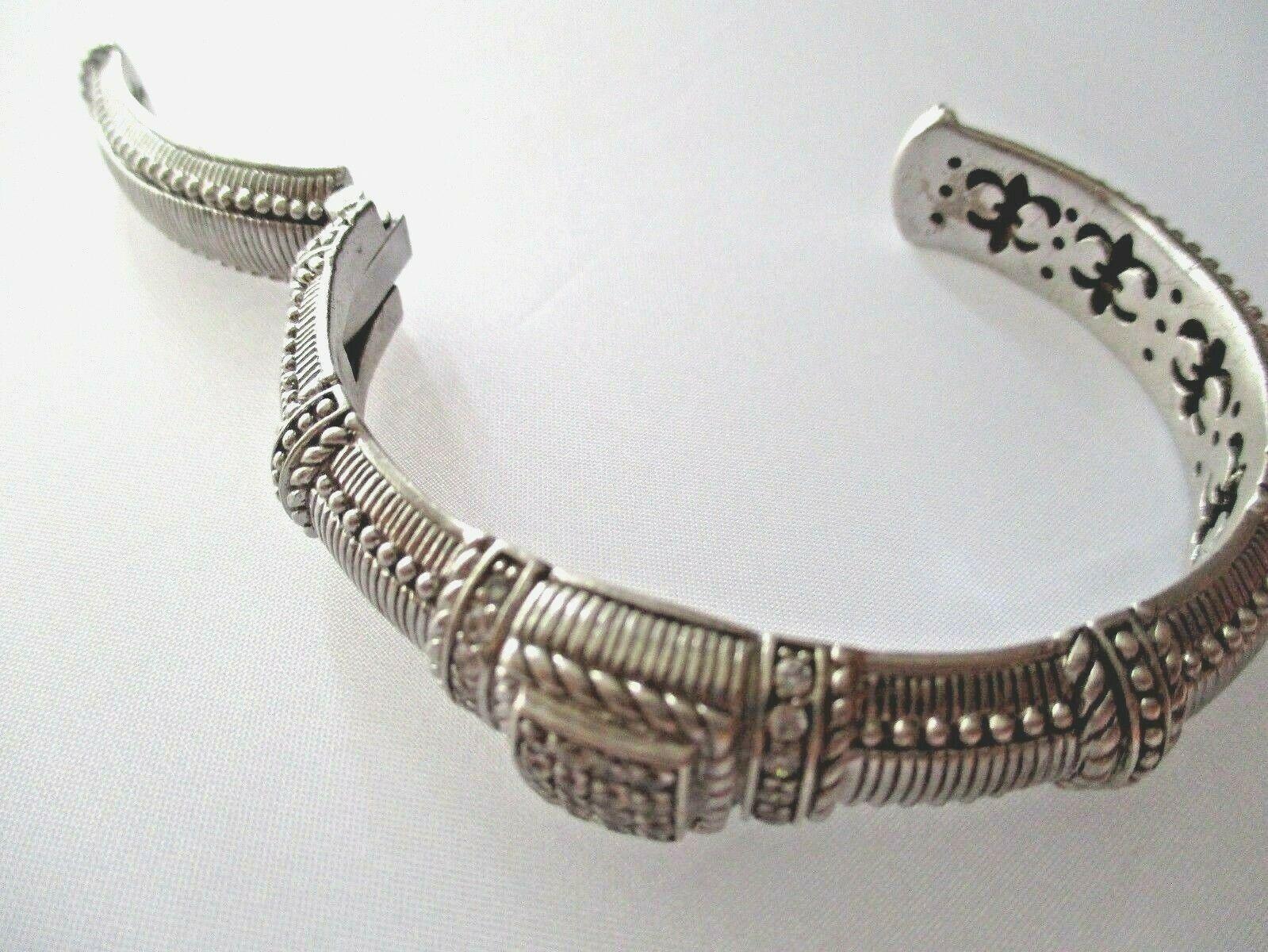 JUDITH RIPKA STERLING SILVER DIAMONIQUE CABLE CUFF BRACELET JR BOX & POUCH AVGE image 9