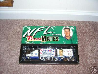 White Rose Collectibles NFL TEAMMATES PATRIOTS Drew Bledsoe Diecast Trailer