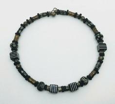 Vintage Boho Tribal Brass Wood Glass Black White Choker - $17.81