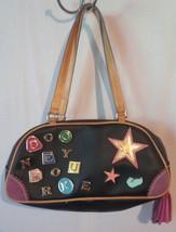 Dooney & Bourke bag purse leather black lots of color tassels #5 designer  - $34.64