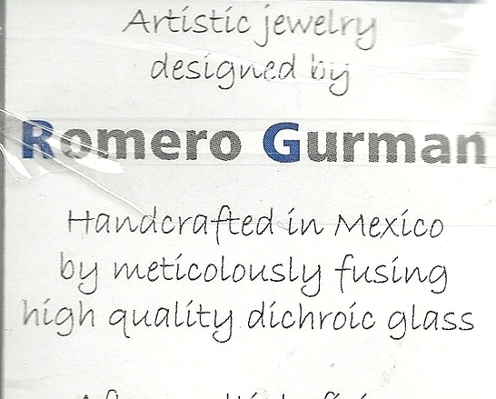 Romero Gurman Dichroic Glass Silver Pendant Handcrafted Mexico Leather Strap