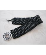 Black & Gray Snakeskin Look Beaded Bracelet, Tw... - $30.00