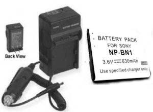 TWO 2 Batteries + Charger for Sony DSC-W310BDL/B DSC-W310P DSCW310BDLB DSCW310P