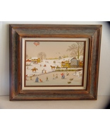 C Carson Canvas Oil Serigraph Painting Snow Winter Scene - $9.90