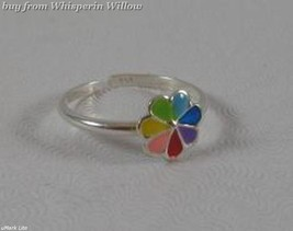 Multi Color Enamel Flower Sterling Silver Toe Ring - $13.99