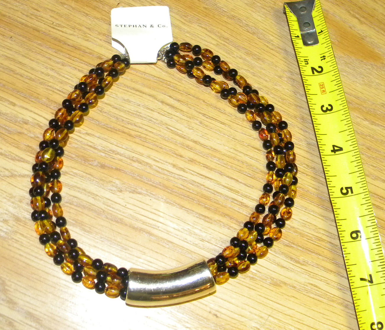 2 amber and black beads multi strand w silver accent steph and co