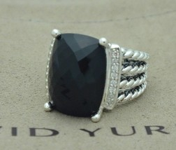David Yurman Sterling Silver 16x12mm Black Onyx Diamond Wheaton Ring Size 7 - $424.71