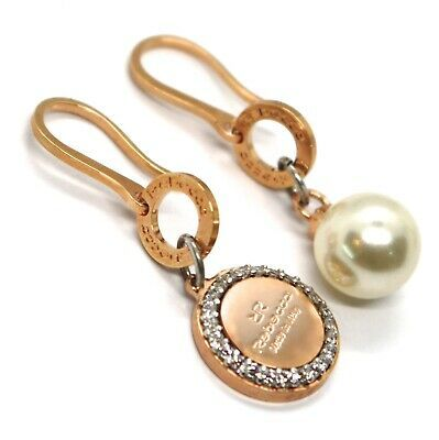REBECCA BRONZE PENDANT EARRINGS, 38 MM, PINK ZIRCONIA DISC, PEARL, MADE IN ITALY