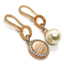 REBECCA BRONZE PENDANT EARRINGS, 38 MM, PINK ZIRCONIA DISC, PEARL, MADE IN ITALY image 1