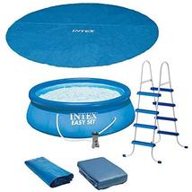 Intex 15ft x 48in Easy Set Above Ground Inflatable Pool w/Pump and Solar Cover - £1,246.47 GBP