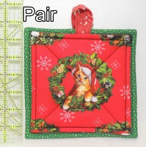 Pot Holders - Pair - Christmas Kitty Cats in Wreaths #2 - PHDR - $8.00